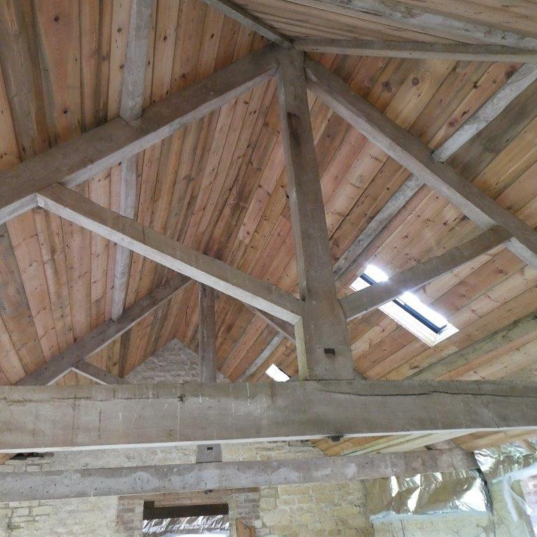 elm trusses and reclaimed Victorian roof boards