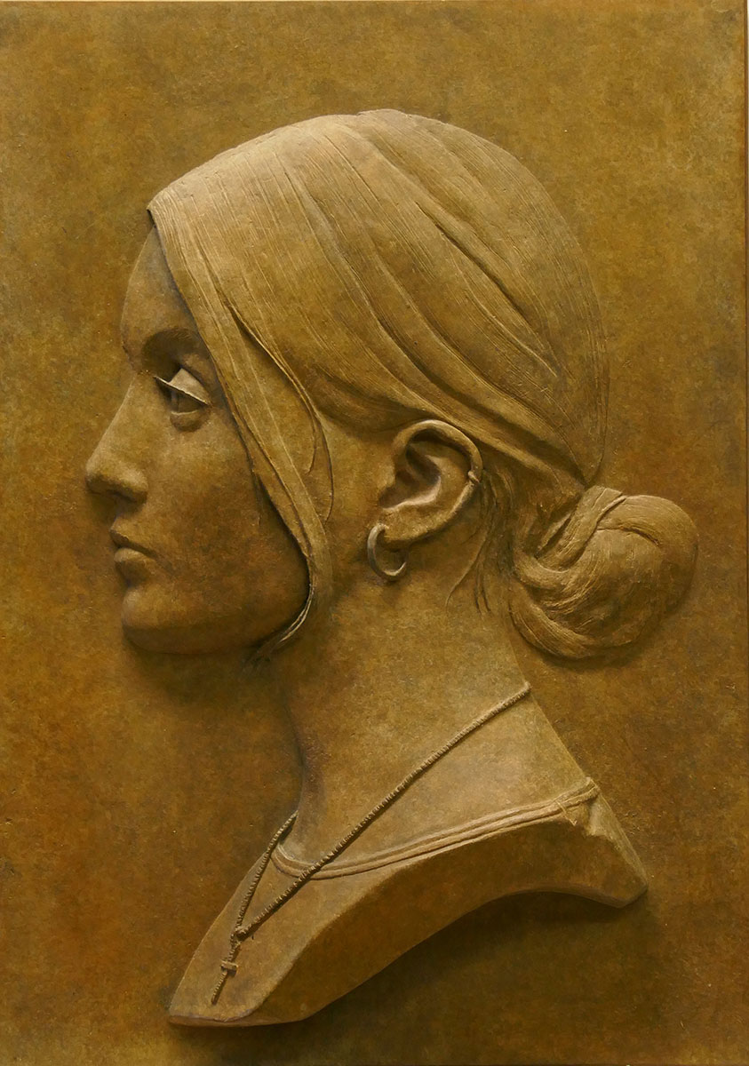 Relief portrait, side view, of Aimee Smith by Robert Hunt