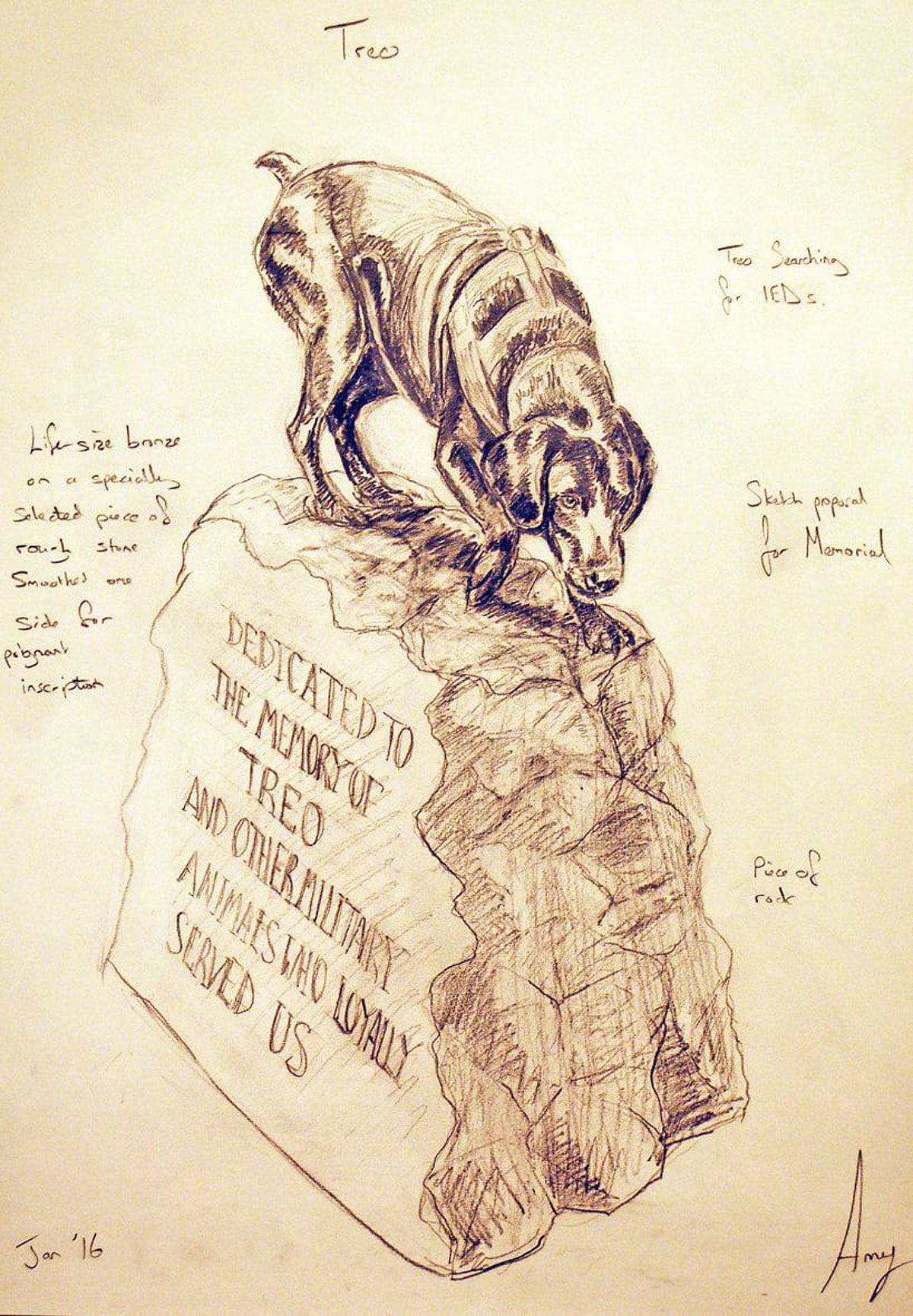 Amy's sketch of the sculpture
