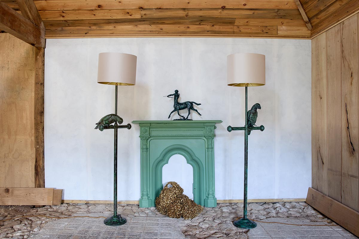 Cockatoo lampstands with Tadghie by Emma Mac Dermott photo © Sue Morris